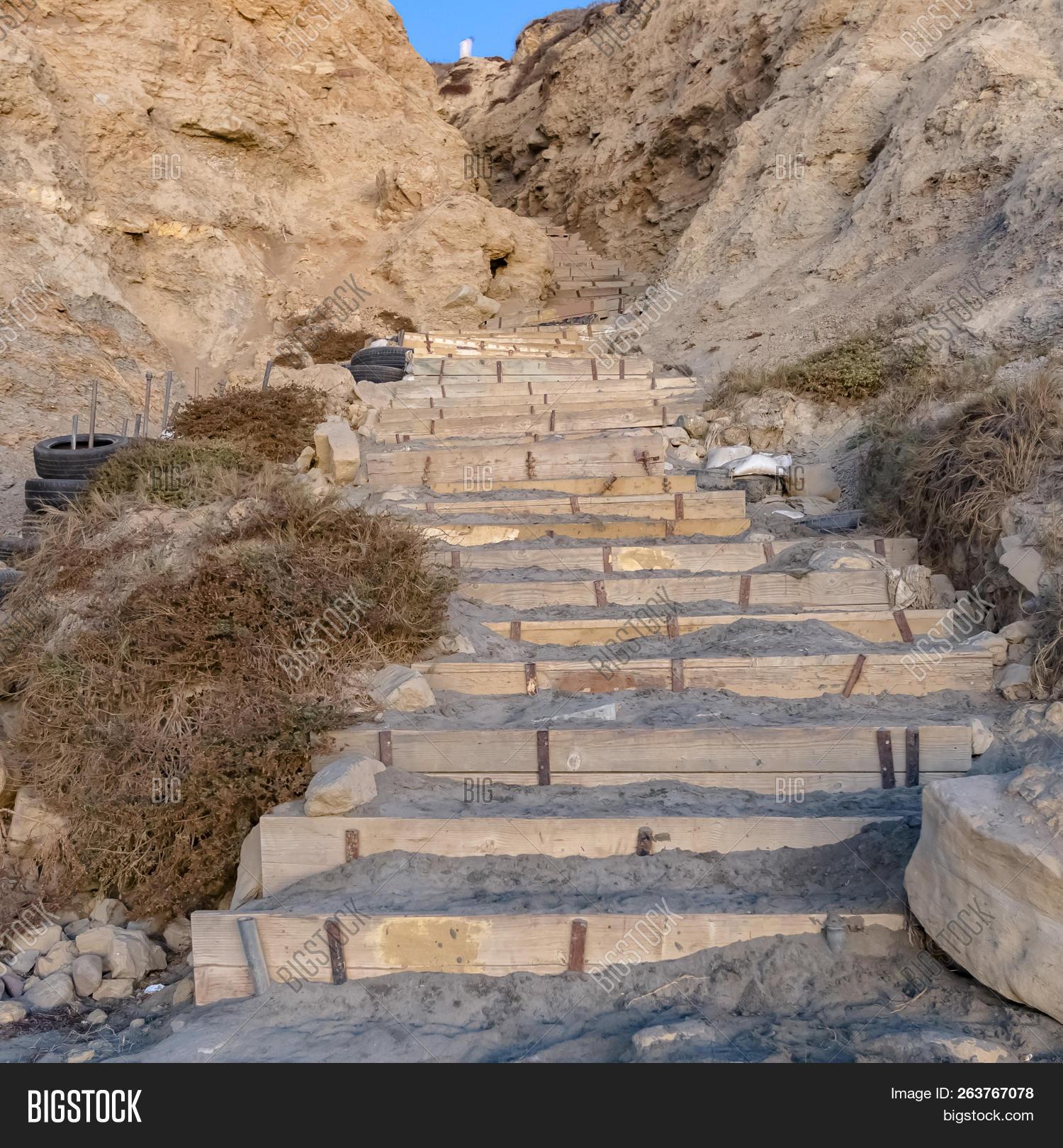 Stairs on a cliff in Blacks beach California