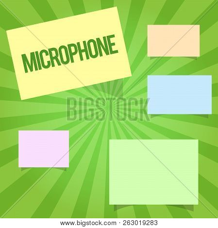 Handwriting text writing Microphone. Concept meaning Instrument for converting sound waves to be transmitted recorded stock photo