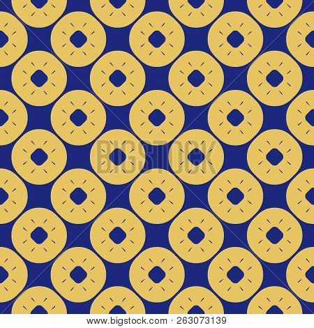 Vector blue and yellow floral seamless pattern. Luxury geometric background with flower shapes, rounded grid, lattice, circles, dots, repeat tiles. Abstract ornamental texture. Stylish retro design. Circles pattern. Mesh pattern. Dots pattern. stock photo