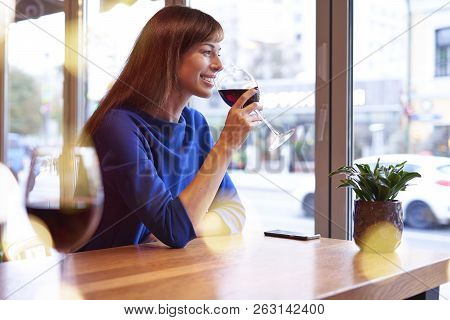 Beautiful woman drinking red wine with friends in cafe, portrait with wine glass near window. Vocation holidays evening bar concept. stock photo