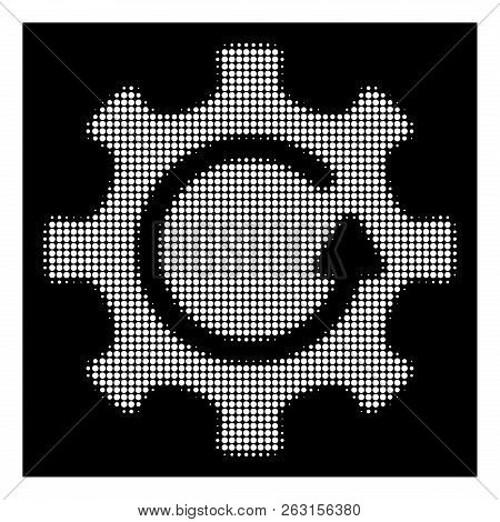 Halftone pixelated cog rotation direction icon. White pictogram with pixelated geometric pattern on a black background. Vector cog rotation direction icon created of circle items. stock photo