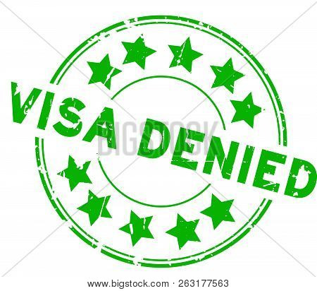Grunge green visa denied with star icon round rubber seal stamp on white background stock photo