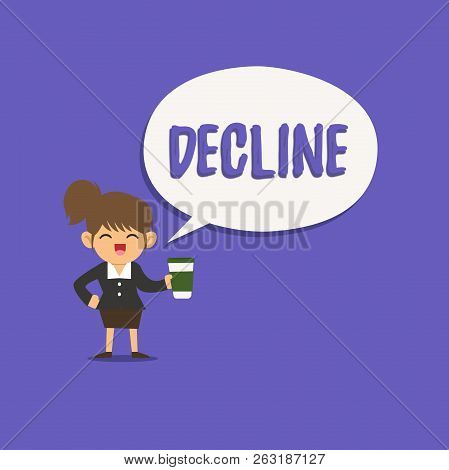 Text sign showing Decline. Conceptual photo Become smaller fewer less Decrease Politely refuse reject say no stock photo