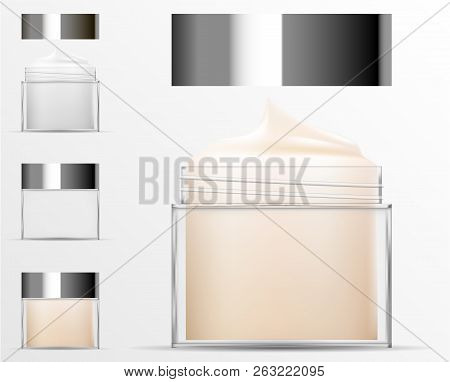 Transparent Cosmetic plastic bottle. Filled and empty Jar for body cream, butter, bath salt, gel, skin care, powder. Realistic container packaging mockup template. Vector illustration. stock photo