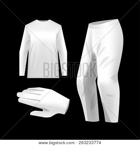 White motocross sportswear kit with crew neck jersey, trousers and gloves. Vector mockup isolated. Sportswear illustration for mountain bike, motocross. stock photo