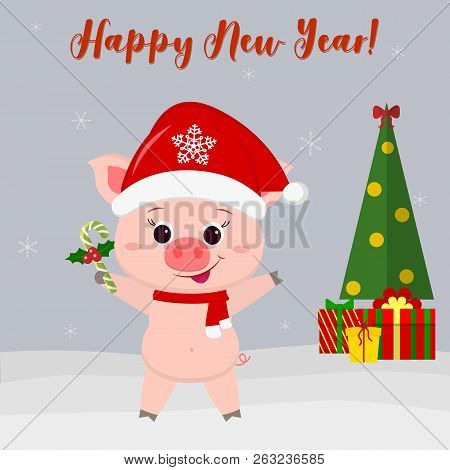 Happy New Year and Merry Christmas greeting card. Cute pig in Santas hat and scarf holds lollipop. Christmas tree, gifts and snowflakes. The symbol of the new year in the Chinese calendar. 2019. Vector. stock photo