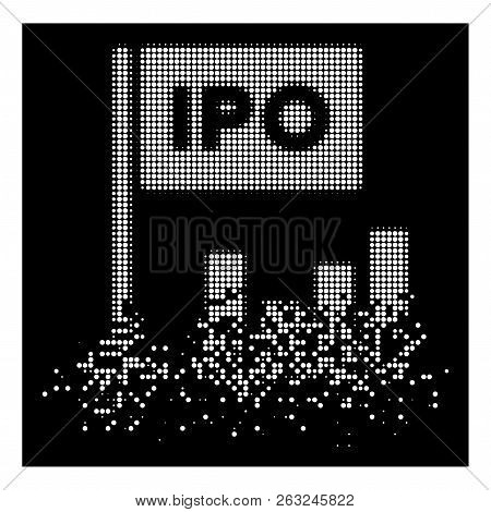 IPO bar chart icon with dispersed effect on black background. White sparks are composed into vector dispersed halftone IPO bar chart pictogram. Disappearing effect involves small round dots. stock photo
