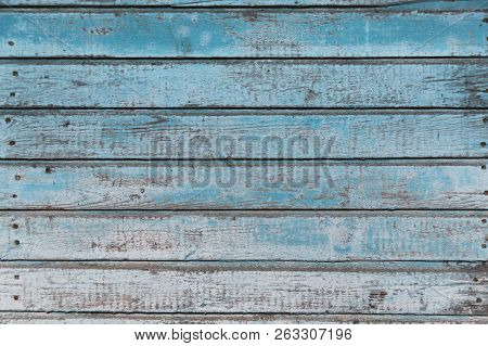 Old brown blue wooden background with planks. stock photo