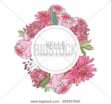 Vector round frame, wreath with summer flowers in vintage style. Pion, aster. For greeting card, template banner stock photo