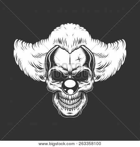 Vintage monochrome creepy angry clown skull isolated vector illustration stock photo