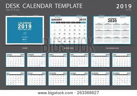 Calendar 2019, Desk calendar template, Set of 12 Months, Planner,  Week starts on Sunday, Stationery design, advertisement, Vector layout, blue cover design, business brochure flyer stock photo