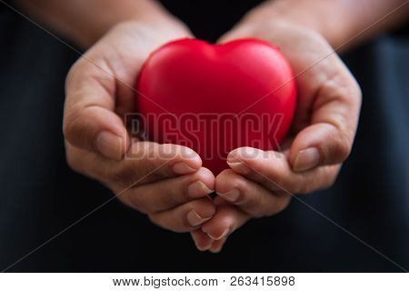 Close Up Hands Giving Red Heart As Heart Donor. Valentine Day Of Love Concept. Medical Ventilator An