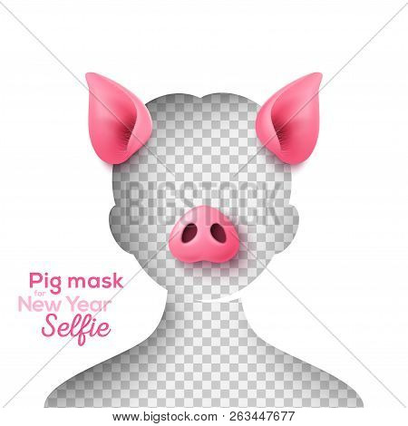 Realistic 3d pig nose and ears for funny 2019 New Year selfie. Vector Illustration. Smartphone photobooth mask app, photo props overlay design. stock photo