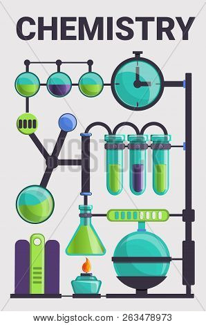 Complex of chemistry glass concept background. Cartoon illustration of complex of chemistry glass vector concept background for web design stock photo