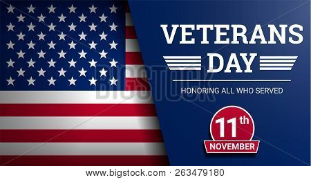 Happy Veterans Day Concept Background. Realistic Illustration Of Happy Veterans Day Vector Concept B
