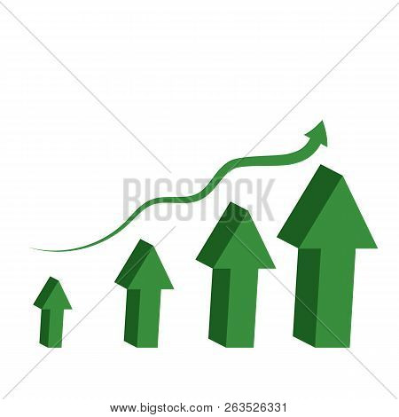 Green arrows 3d top. A symbol of the dynamics of financial success. Vector design elements isolated on white background. Eps 10. stock photo