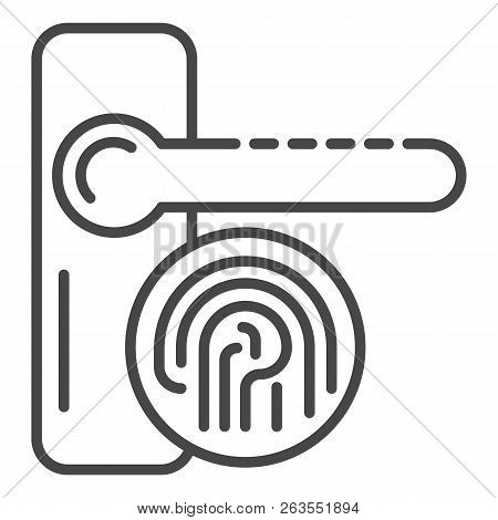 Fingerprint door lock icon. Outline fingerprint door lock vector icon for web design isolated on white background stock photo