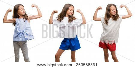 Collage of hispanic young child over isolated background showing arms muscles smiling proud. Fitness concept. stock photo