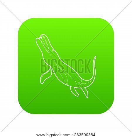 Underwater dinosaur icon green isolated on white background stock photo