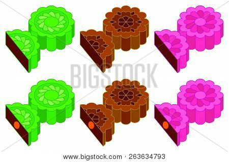 Chinese Mooncake for mid autumn festival in various taste and flavor such as chocolate, red bean, coffee, outline editable stroke design stock photo