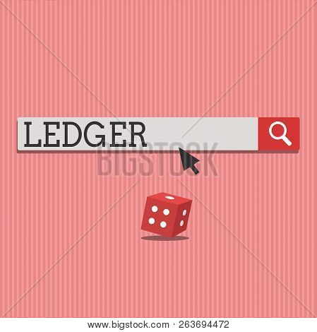 Word writing text Ledger. Business concept for book or other collection of financial accounts flat stone slab stock photo