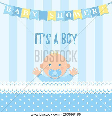 Baby Shower boy card. Vector. Sweet blue banner with newborn kid, flags, polka dot pattern. Baby boy birth party poster in flat design. Cute template invite background. Colorful cartoon illustration. stock photo