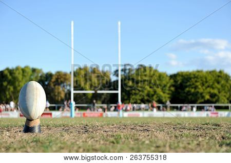 Goal Posts And Football Used In The Team Sport Of Rugby Union Or Rugby League.