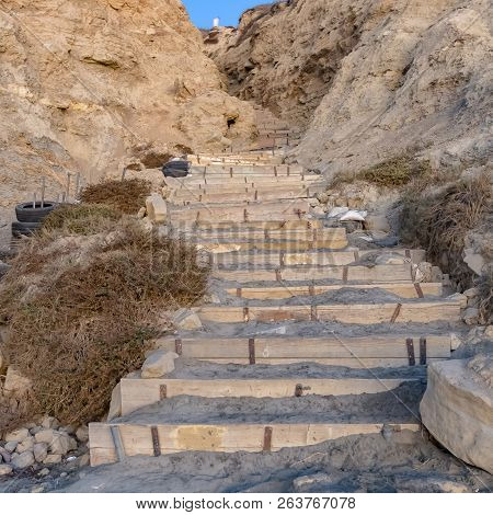 Stairs on a cliff in Blacks beach California stock photo
