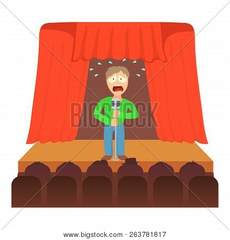 Glossophobia concept. Cartoon illustration of a man suffering from the fear of of public speaking stock photo