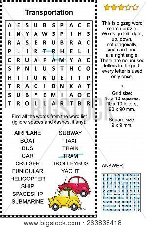 Transportation themed zigzag word search puzzle (suitable both for kids and adults). Answer included. stock photo
