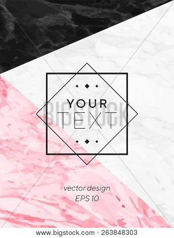 Modern geometric cover designs with triangles, shapes and marble texture. Grey, black and pink background. Template for card, flyer, invitation, party, birthday, wedding, print advertising. stock photo