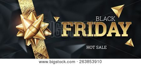 Sale, promo banners for black friday, inscription Black Friday on a dark background, hot sale, discounts.. Gold letters. Banner, card, copy space. Mockup, layout. Creative background stock photo