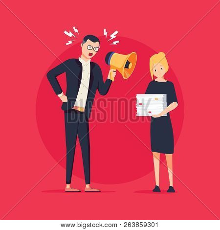 Vector cartoon illustration of angry boss and frightened employee. Man standing near the table, woman bring pile of papers. Office work stress bullying and anger, harrassment concept. Job Intimidation stock photo