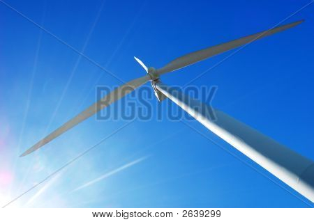 wind turbine in the bangui bay philippines. I pioneer in renewable energy source stock photo