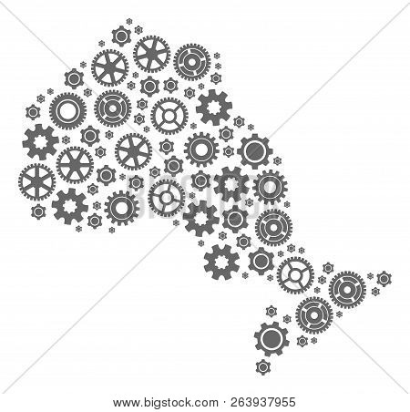 Map of Ontario Province designed with gray wheel symbols. Vector abstract collage of map of Ontario Province with technical symbols. Engineering flat design for factory purposes. stock photo