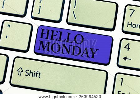 Word writing text Hello Monday. Business concept for Greeting Positive Message for a new day Week Starting stock photo
