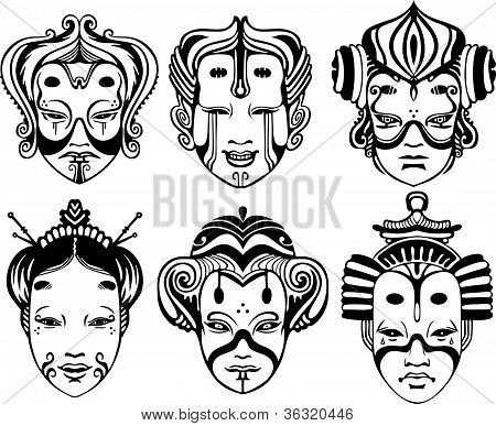 Japanese Tsure Noh Theatrical Masks. Set of black and white vector illustrations. stock photo