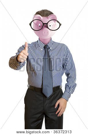 Businessman with a piggy bank head stock photo