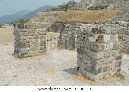 Plaza Of The Stele Of The Two Glyphs - xochicalco pyramid ruins near cuernavaca mexico stock photo