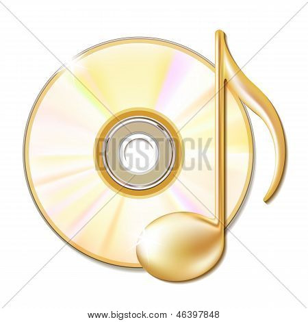 Gold musical note and cd disk - music icon. Vector illustration stock photo
