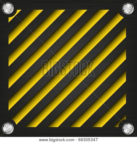 Textured metal surface with the screws on the bright striped background, abstract background of the technogeni stock photo