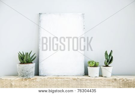 scandinavian or american style room interior with painted frame and three succulents in diy concrete pot background for text stock photo