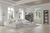 Modern space parlor inside with monochromatic white stylistic theme, an agreeable secluded parlor su