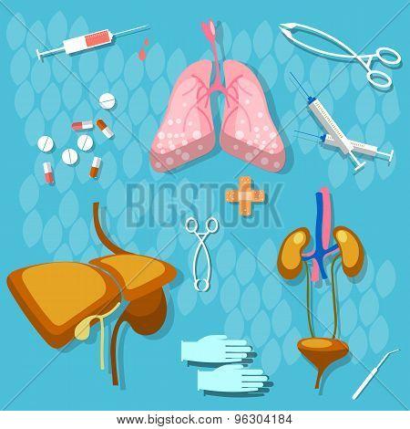 Medicine and health human organs lungs liver kidneys transpatologiya medical instruments syringes pills vector illustration stock photo
