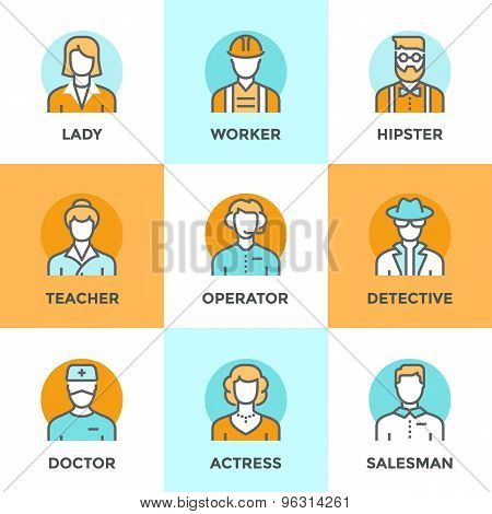People Profession Line Icons Set