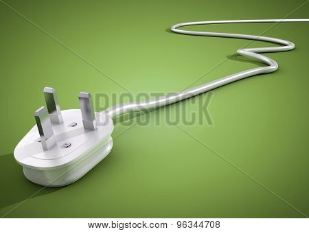 Electrical plug and cable lies unplugged isolates on green background. Concept for saving electricity by unplugging unused appliances and devices. stock photo