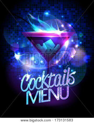 Cocktails menu design with burning cocktail against disco sparkles, rasterized version-Mini Fridge Magnet Skin (size 20x31)
