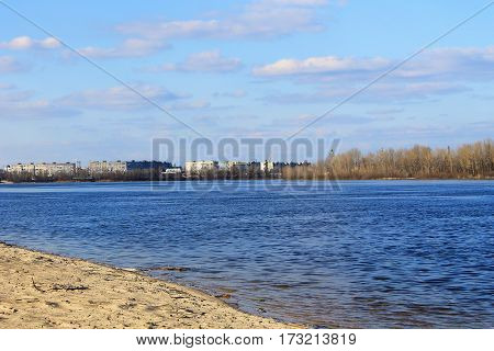View on the Dnieper river in Ukraine stock photo