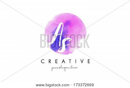 AS Watercolor Letter Logo Design with Purple Rounded Aquarella Brush Stroke. stock photo