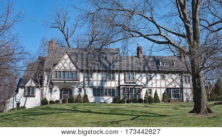 Magnificent Stucco English Tudor Home stock photo